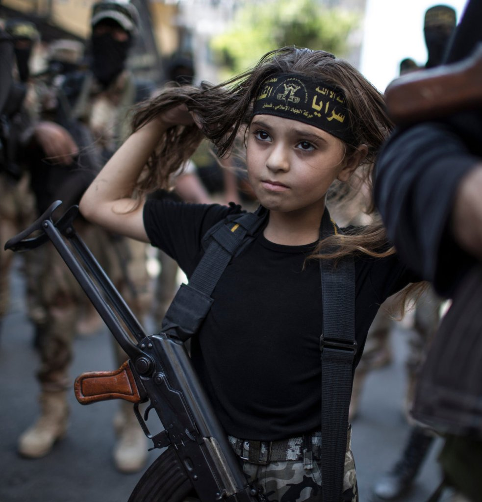 Young girl, Palestinian militant, Gaza City